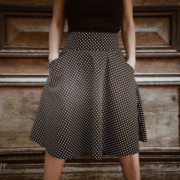 Labelalyce jupe taille haute noire coton retro pin up fifties