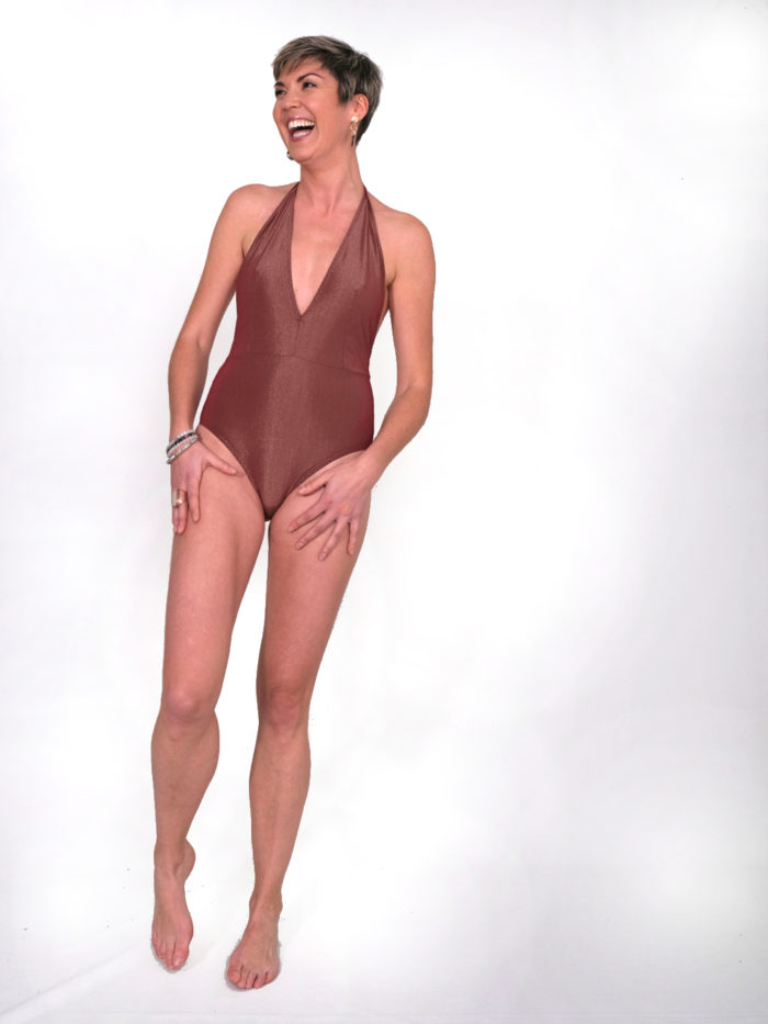 Orso rosso maillot de bain Tethys rouge doré made in france