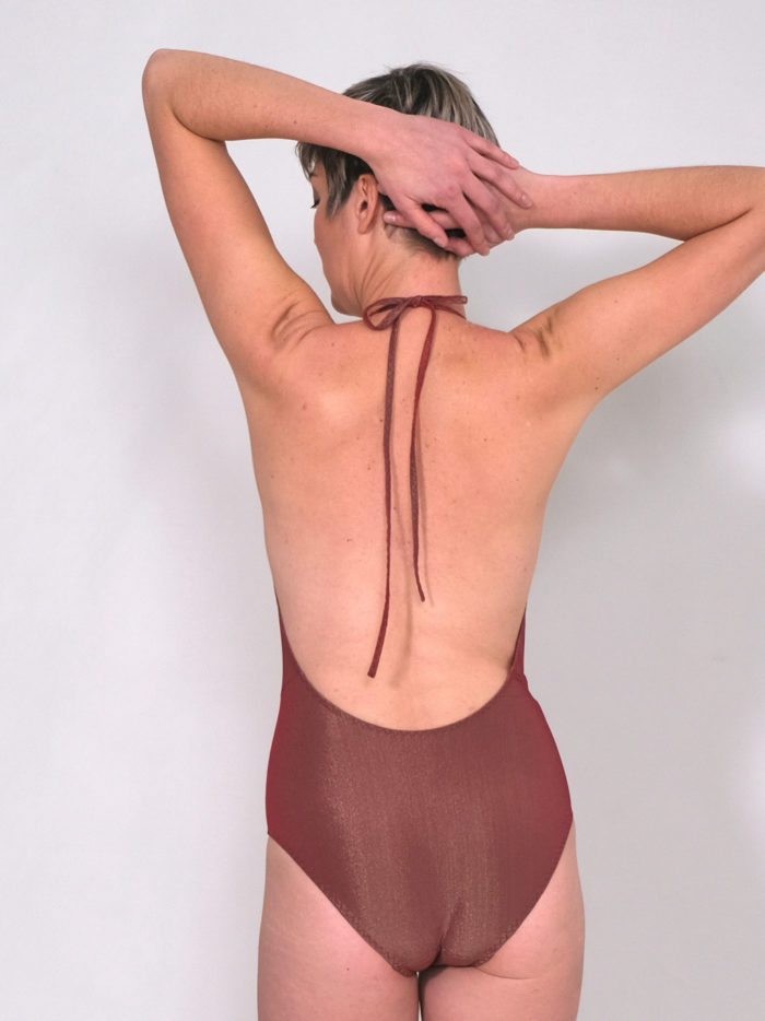 Orso rosso maillot de bain Tethysc rouge doré made in france