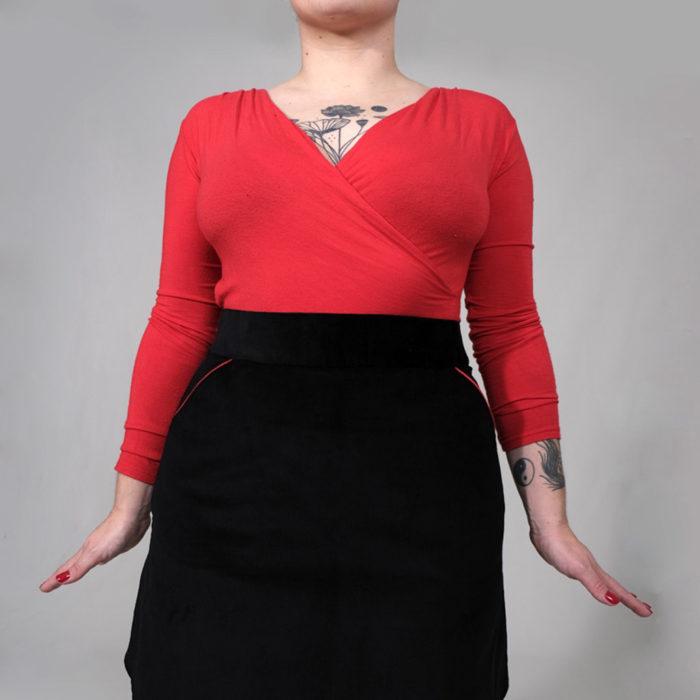 JEFF : jupe trapèze en velours noir 100% coton