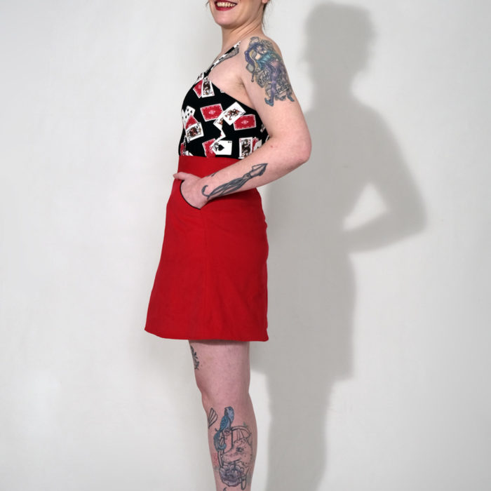 JEFF : jupe taille haute trapèze velours rouge
