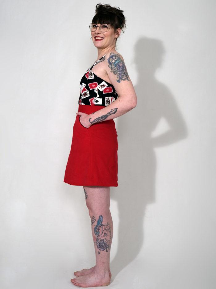 Labelalyce jupe Jeff taillehaute courte trapèze unie rouge classique rock pin up fun taille haute taillehuate minijupe 1