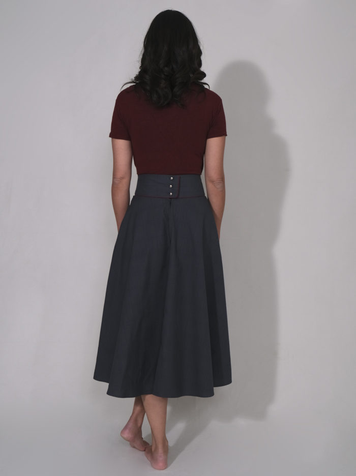 Labelalyce jupe CHarly mi longue longueur midi taillehaute taille haute poches bleu princedegalle bordeau rayures carreaux rock pin up vintage style 50 1