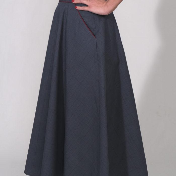 CHARLY : jupe taille haute mi-longue prince de galle bleu et bordeaux