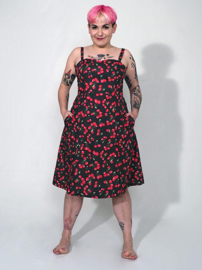 Labelalyce robe Johnny cerise bretellesamovibles poche cintree rock pin up pinup rockabilly pois noir rouge blanc cerises 1