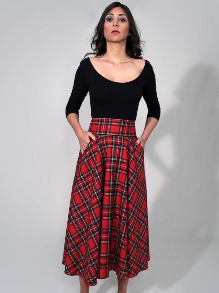 Labelalyce jupe Charly mi longue longueur midi taillehaute taille haute poches ecossais rouge carreaux rock pin up vintage style 50 retro