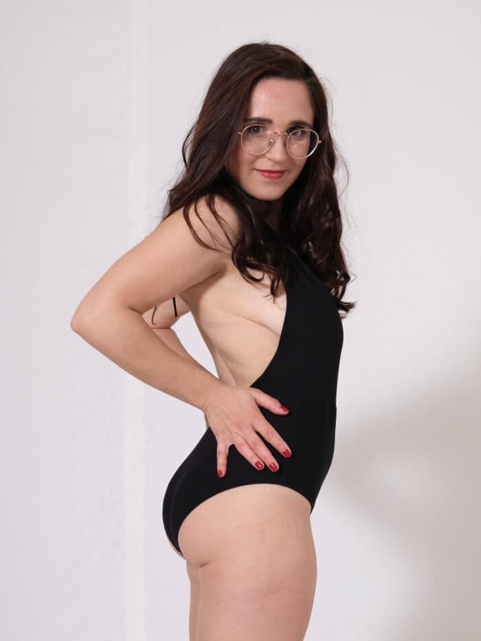 Orso rosso maillot de bain Tethys noir tissu made in Ardeche 1 piece
