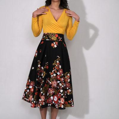 CHARLY : jupe taille haute longueur MIDI noires à fleurs 100% coton