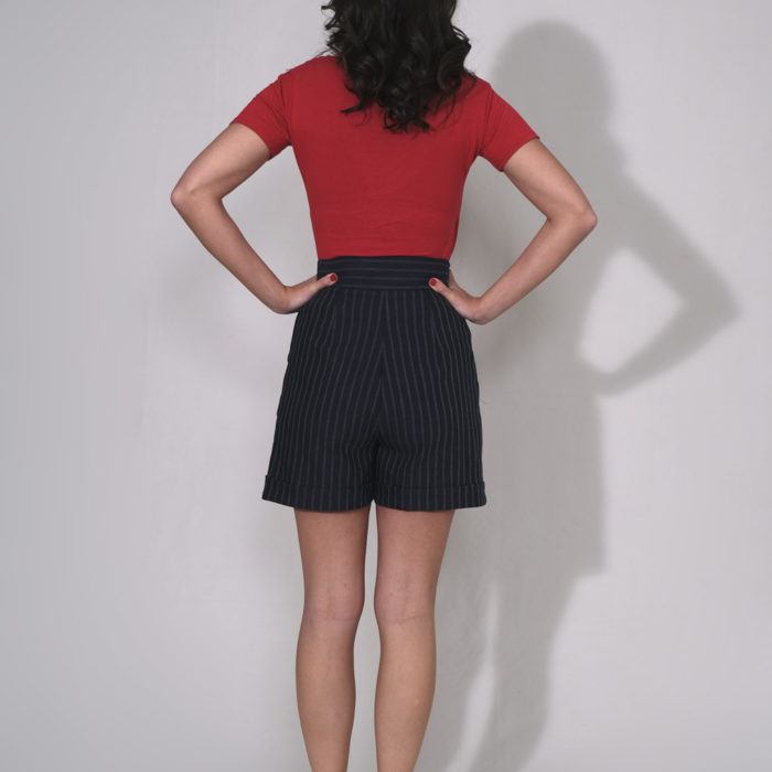 SHORT : short en jean à rayures 100% coton taille haute