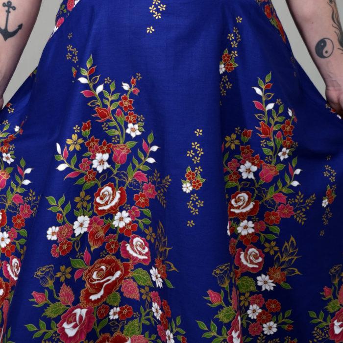 CHARLY : jupe taille haute longueur MIDI bleu éléctrique à fleurs 100% coton