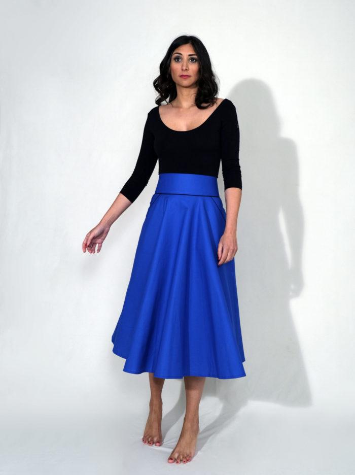 Labelalyce Charly jupe taillehaute midi fleurs Klein bleu electrique klein uni pin up classe vintage beauty madeinlyon createur 4