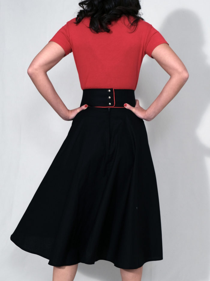 Labelalyce jupe Charly collection continue noir rouge troisquartdos
