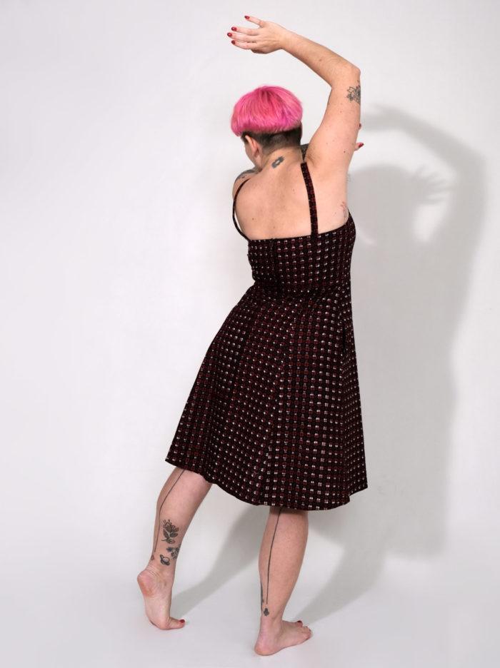 Labelalyce robe johnny wax rouge noir troisquartdos