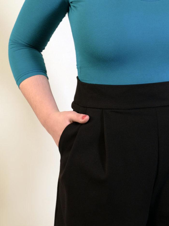 Labelalyce short taillehaute plis retro pinup laine jersey noir uni shorty vestecintree détail poche