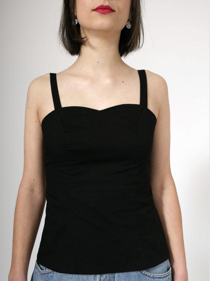 Labelalyce Corsage Betty noir top bustier pin up bretelles droites croisees dos nu troisquart