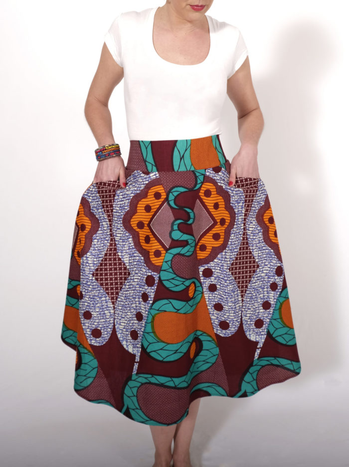 Labelalyce jupe Charly wax taillehaute afro tissu africain colore vert dagon jupe midi.dos boutons cloche metal argent