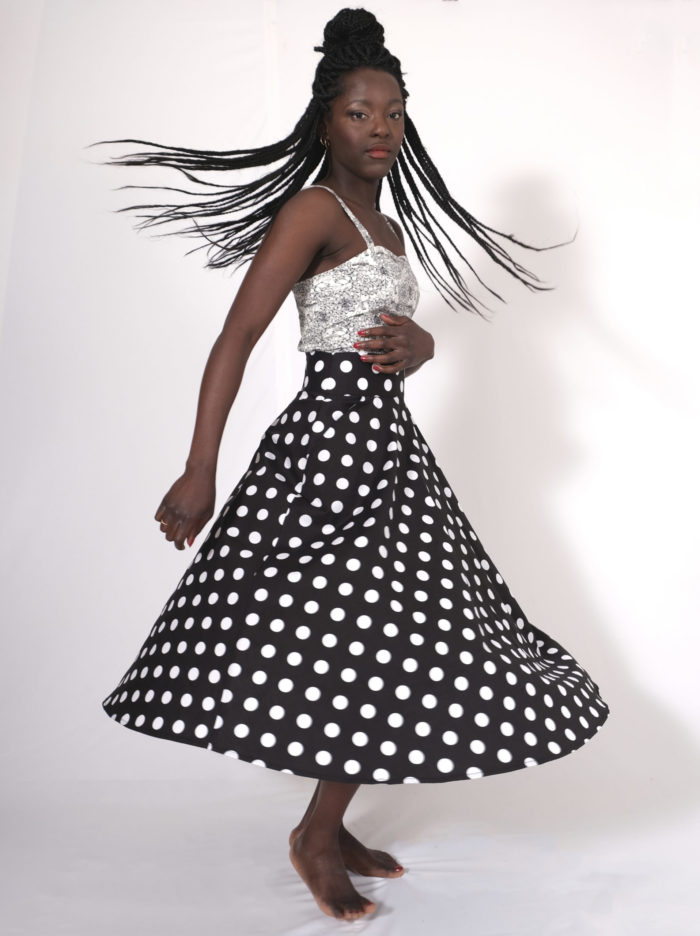 Labelalyce jupe charly taille haute midi noir pois pin up retro vintage rock classique basique intemporel poches tourne