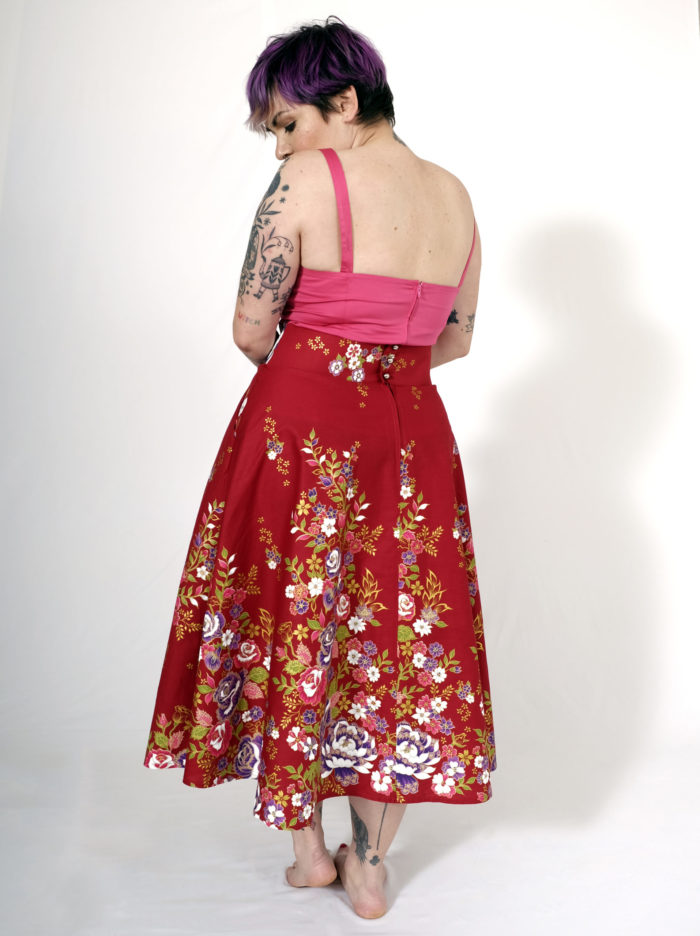 Labelalyce jupe charly taillehaute fleurs retro vintage pin up classe beauty dos
