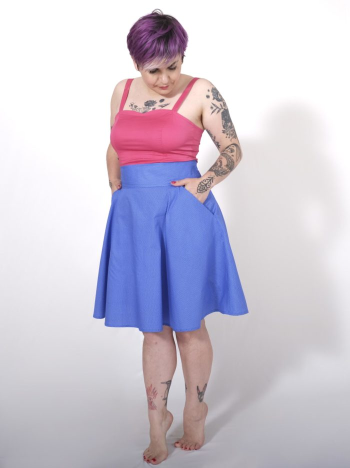Labelalyce jupe fonzy bleu pois face pin up retro vintage classique taillehaute fifties Zoeline