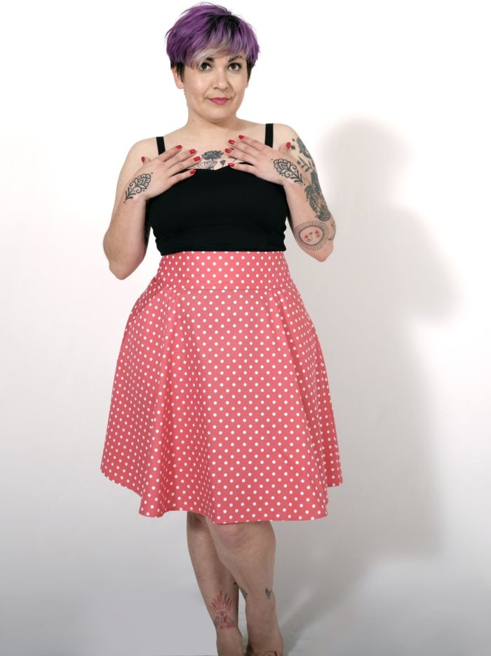 Labelalyce jupe fonzy rose pois face pin up retro vintage classique taillehaute fifties Zoeline