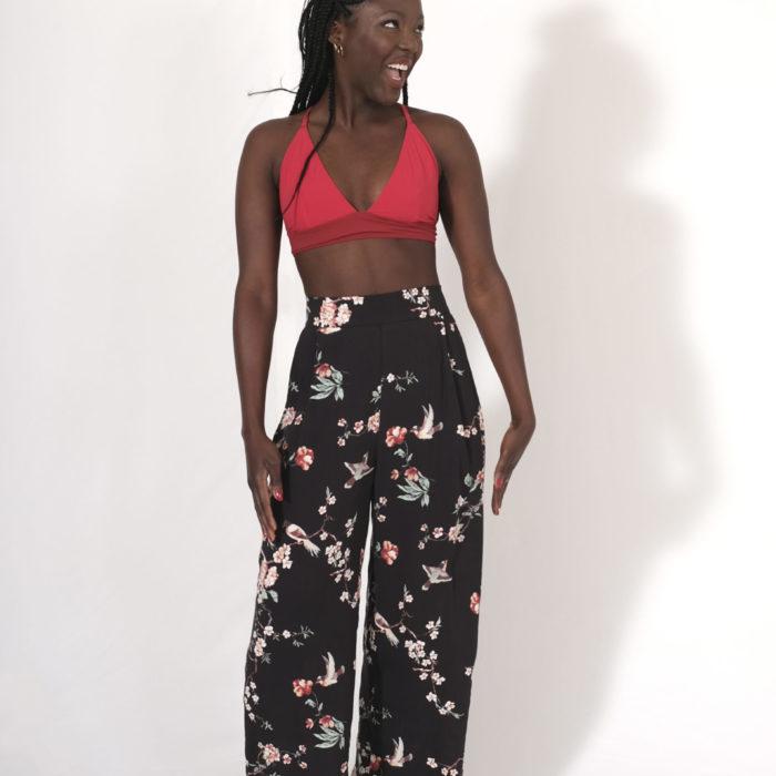 Labelalyce pantalon osiris viscose taille haute noir fleurs cerisier japonais