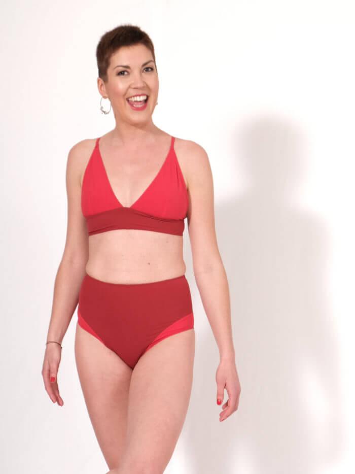 Orso rosso maillot de bain Sedna rouge tissu made in Ardeche 1 piece
