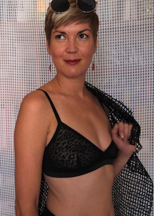 Orsorosso soutien gorge petite panthere lingerie dentelle noire lyon