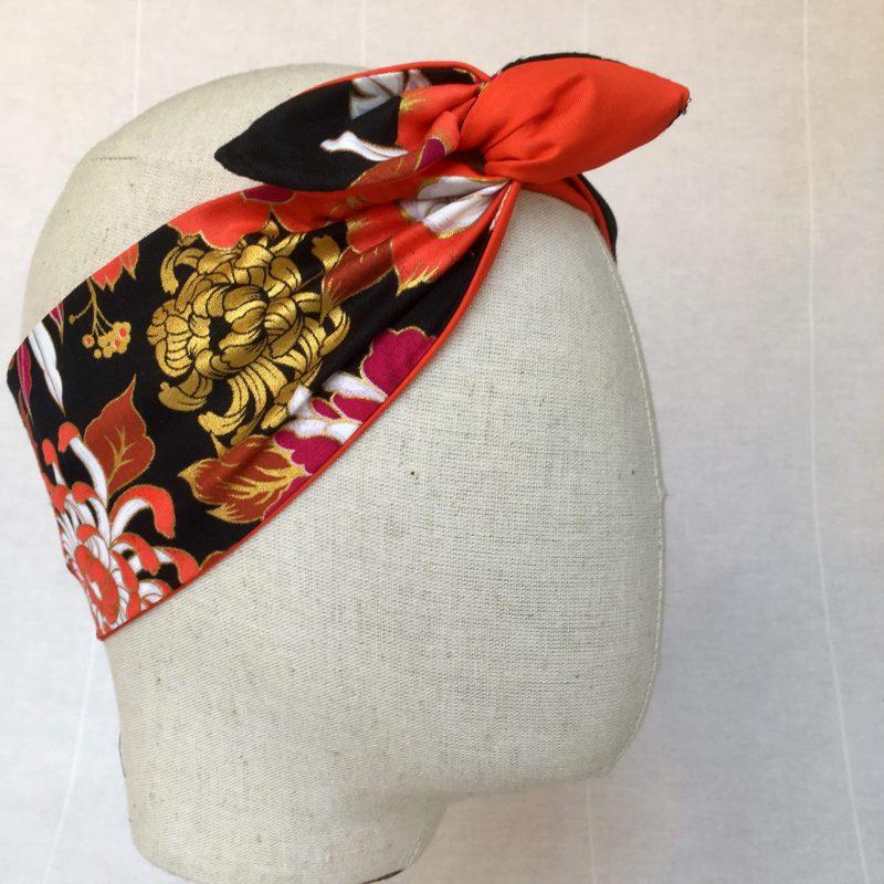 Labelalyce-Bandeau-fildefer-tissufleuri-orange-noir-fleurs-pivoine